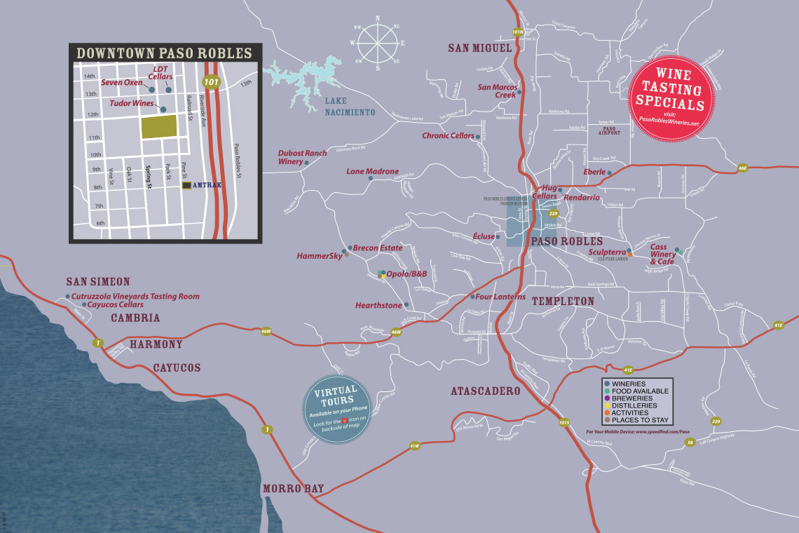 Paso Robles Wine Tasting Coupon Map